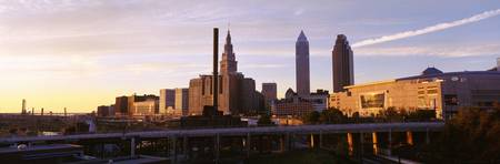 Cleveland Ohio city skyline at dusk