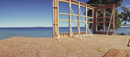 Construction site at the coast Grand Traverse Bay