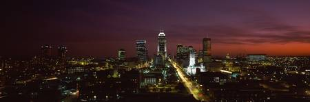 City lit up at night Indianapolis Marion County I