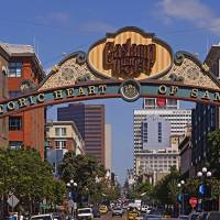 """""""Buildings in a city Gaslamp Quarter San Diego Cal"""" by Panoramic_Images"""