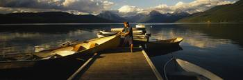 Child With Rowboat Lake McDonald Glacier National