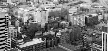 Aerial view of historic buildings in downtown Cin