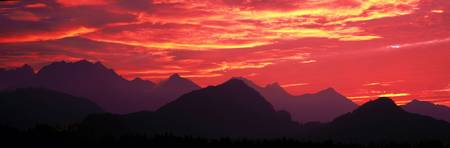 Sundown Austrian Mts South Bavaria Germany