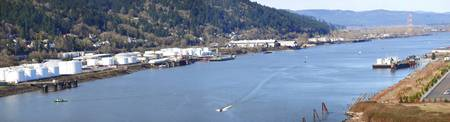 High angle view of a river Willamette River Portl