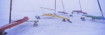 Ice boats on a frozen lake