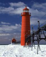 Lighthouse on a snow covered coast