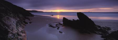 Sunset over the sea Whitesand Bay Pembrokeshire W