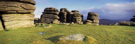 Rocks on a landscape Combestone Tor Dartmoor Devo