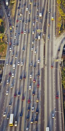 Aerial view of traffic on a highway