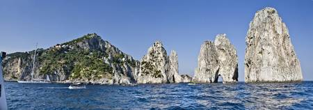 Rock formations in the sea Faraglioni Capri Naple