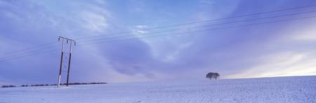 Electricity pylon in a snow covered landscape War