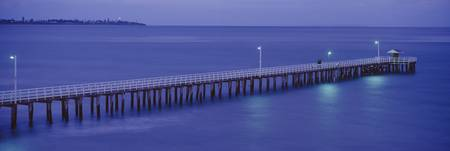 High angle view of a pier at dusk