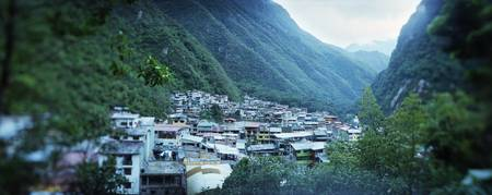 High angle view of a town Aguas Calientes Andes U