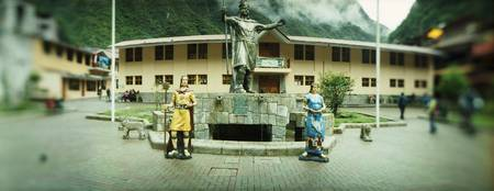Monument in a town square Aguas Calientes Urubamb