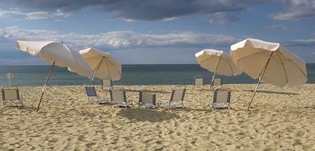 Deck chairs and beach umbrellas on the beach