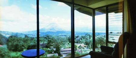 Mountain range viewed from a lodge Arenal Region