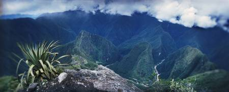 High angle view of mountains Machu Picchu Cusco R