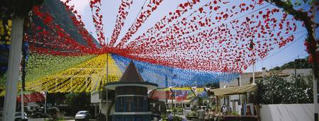 Streamers hanging over a street