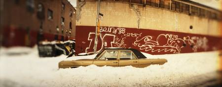 Car buried in snow Williamsburg Brooklyn New York
