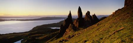 Rock formations on the coast Old Man of Storr Tro