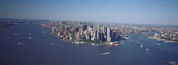 Aerial Lower Manhattan New York City NY