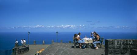 Group of tourists at an observation point