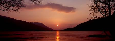 Sunset over a lake Loch Leven Ballachulish Lochab