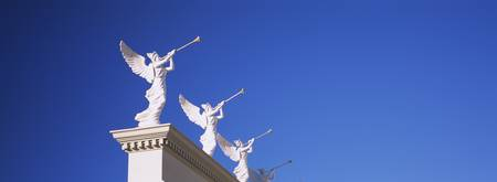Low angle view of statues on a wall