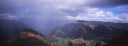 Rainbow over a canyon