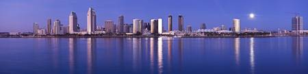 Moonrise over a city San Diego California