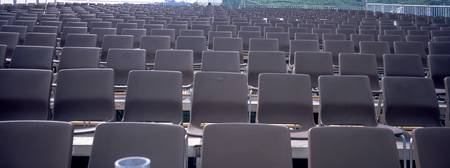Rows of chairs in a stadium