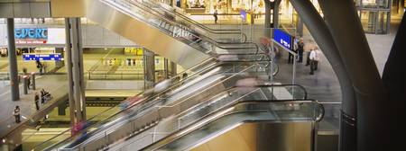 Escalators in a railway station
