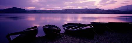 Sunset Fishing Boats Loch Awe Scotland