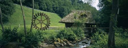 Watermill at a river