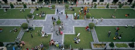 High angle view of tourists in a courtyard of a p