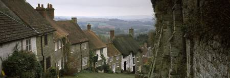 Houses in a town Gold Hill Shaftesbury Dorset Eng