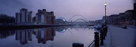 City at dusk Gateshead Millennium Bridge Baltic C
