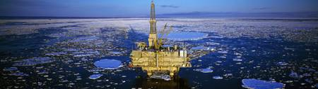 Oil production platform in icy water
