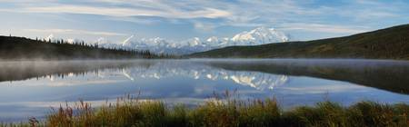 Snow-covered Mount McKinley and Alaska Range