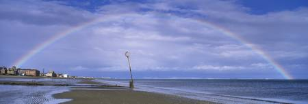 Rainbow over the sea Portobello Edinburgh Scotlan