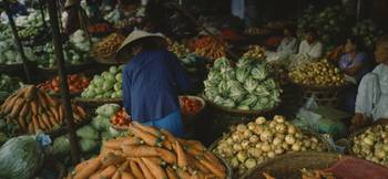 Customer buying vegetables in a vegetable market