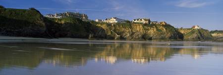 Town at the coast Tolcarne Beach Newquay Cornwall
