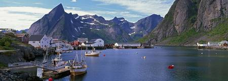 Boats and cottages in Reine Harbour