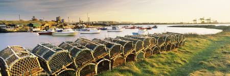 Lobster traps at a harbor Paddys Hole South Gare