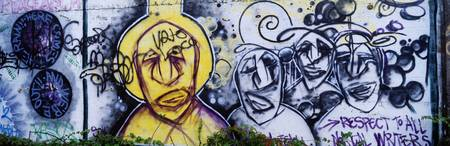 Close-up of a graffiti on a wall