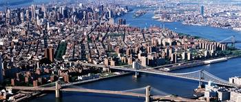 Aerial Brooklyn Bridge Manhattan Bridge New York