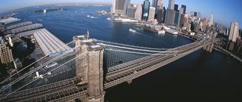 Aerial Brooklyn Bridge Lower Manhattan New York N