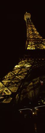 Hotel lit up at night Replica Eiffel Tower Paris