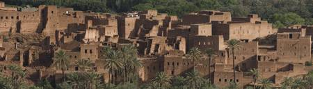 Panoramic view of the Kasbah of Tinerhir in disre