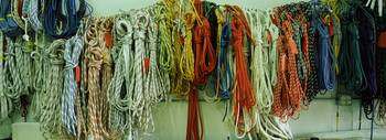 Colorful braided ropes for sailing in a store